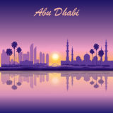 Abu Dhabi skyline silhouette background with a Grand Mosque Stock Image