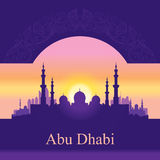 Abu Dhabi skyline silhouette background with a Grand Mosque Royalty Free Stock Photos