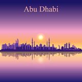 Abu Dhabi skyline silhouette background with a Grand Mosque Royalty Free Stock Photo