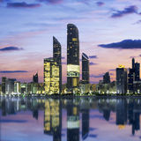 Abu Dhabi Skyline at sunset Stock Image