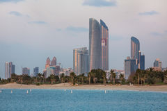 Abu Dhabi Skyline view. ABU DHABI, UNITED ARAB EMIRATES - Feb 24, 2015: Abu Dhabi Skyline view from the Marina Mall. United Arab Emirates royalty free stock images