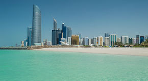 Abu Dhabi Skyline. Viewed from the sea stock photos