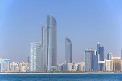 Abu Dhabi skyline and waterfront taken on March 31, 2013 in Abu Dhabi, United Arab Emirates. ABU DHABI - MARCH 31, 2013: Abu Dhabi skyline and waterfront taken Royalty Free Stock Images