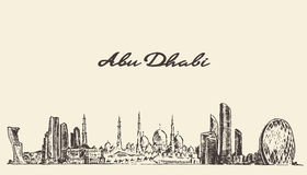 Abu Dhabi-Skylineweinlese-Illustrationshand gezeichnet Stockfoto