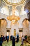 Abu Dhabi Sommer 2016 Die berühmte Sheikh Zayed Grand-Moschee Äußeres und der Innenraum Stockbild