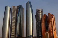 Abu Dhabi stadshorisont, UAE royaltyfri fotografi