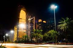 Abu Dhabi-Stadtbildansicht von Corniche nachts Stockfoto