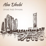 Abu Dhabi-Stadtbildskizze - UAE Stockfotos