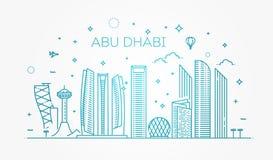 Abu Dhabi-Stadtlinie Kunst Vektorillustration mit allen berühmten Gebäuden cityscape Stockbild