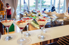Abu Dhabi. Summer 2016. Breakfast at the hotel. Breakfast buffet. Buffet catering food arrangement on table. Stock Images