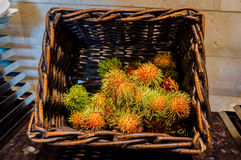 Abu Dhabi. Summer 2016. Rambutan at the hotel . Breakfast buffet. Buffet catering food arrangement on table. Stock Images
