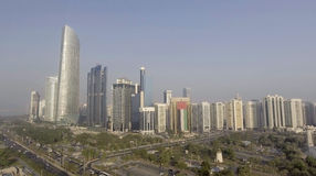 Abu Dhabi, UAE. Aerial city view from Corniche Beach Stock Photo