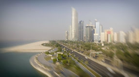 Abu Dhabi, UAE. Aerial city view from Corniche Beach Royalty Free Stock Photo