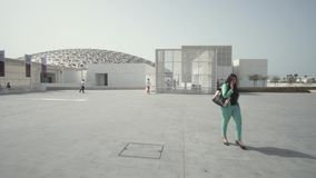 Louvre Abu Dhabi is an art and civilization museum stock footage video. Abu Dhabi, UAE - April 04, 2018: Louvre Abu Dhabi is an art and civilization museum stock stock footage