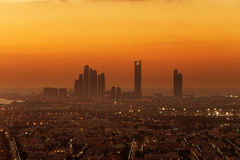 Abu Dhabi, UAE at dawn, showing the Corniche and Etihad Towers Royalty Free Stock Photo