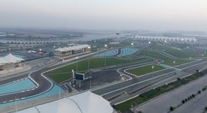 ABU DHABI, UAE - DEZEMBER 2016: Ferrari-Weltvogelperspektive Abu D Lizenzfreie Stockfotos