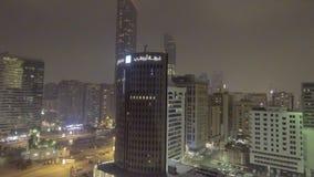 ABU DHABI, UAE - DEZEMBER 2016: Luftnachtstadtansicht Abu Dhab Lizenzfreies Stockfoto