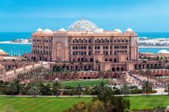 Abu Dhabi, UAE - March 30. 2019.Emirates Palace - Luxury Hotel Surrounded By About 85 Hectares Of Lawn And Gardens Royalty Free Stock Photo