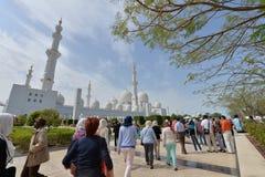 ABU DHABI, UAE -19 MARCH 2016: Sheikh Zayed Grand Mosque in Abu Dhabi, United Arab Emirates. Grand Mosque in Abu Dhabi is the largest mosque in United Arab Stock Photos