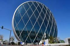 ABU DHABI, UAE MARZEC, 19, 2019 Aldar kwater głównych budować jest pierwszy kółkowym budynkiem swój rodzaj w Środkowy Wschód wewn zdjęcia stock
