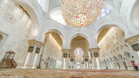 ABU DHABI, UAE - MAY 2017: Magnificent interior of Sheikh Zayed Grand Mosque timelapse in Abu Dhabi. 4K Timelapse in Abu Dhabi, United Arab Emirates stock video