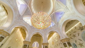 ABU DHABI, UAE - MAY 2017: Timelapse of luxurious interior the Sheikh Zayed Grand Mosque in UAE, Abu Dhabi stock video