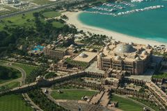 Abu Dhabi /UAE- am 14. November 2017: Vogelperspektive des Emirat-Palastes Abu Dhabi Lizenzfreies Stockfoto