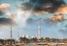 Abu Dhabi, UAE. Panoramic view at sunset of Sheikh Zayed Mosque Stock Photos