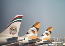 ABU DHABI, UAE - 3. SEPTEMBER 2017: Etihad-Flugzeuge in Abu Dhab Lizenzfreies Stockbild