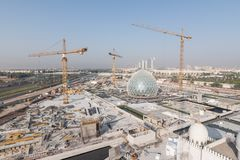 Abu Dhabi, UAE - 2016 : Sheikh Zayed Grand Mosque new extension stock photo