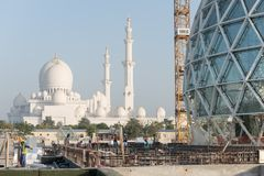 Abu Dhabi, UAE - 2016 : Sheikh Zayed Grand Mosque new extension royalty free stock images