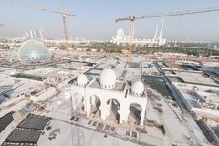 Abu Dhabi, UAE - 2016 : Sheikh Zayed Grand Mosque new extension royalty free stock image