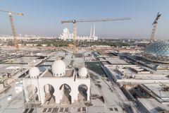 Abu Dhabi, UAE - 2016 : Sheikh Zayed Grand Mosque new extension stock image