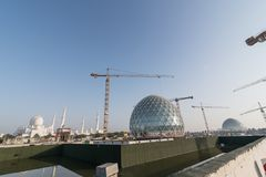 Abu Dhabi, UAE - 2016: Sheikh Zayed Uroczysty Meczetowy nowy rozszerzenie Zdjęcie Royalty Free
