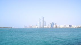 ABU DHABI, UNITED ARAB EMIRATES - APRIL 4th, 2014: Skyline view from the Marina Mall royalty free stock photos