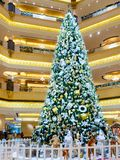 Abu Dhabi, United Arab Emirates - December 13, 2018: Decorated Christmas tree in the hall Emirate Palace royalty free stock photography