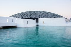 Louvre of Abu Dhabi. Abu Dhabi, United Arab Emirates, 30-Nov-2017: Louvre Abu Dhabi, a new landmark of Abu Dhabi stock photos