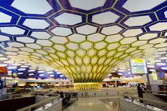 Abu Dhabi, United Arab Emirates, The Interior Of The Airport Departure Terminal. Stock Photography