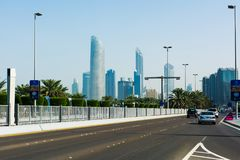 Abu Dhabi, Verenigde Arabische Emiraten - 27 Januari, 2018: Panoramische vi Royalty-vrije Stock Foto's