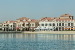 Abu Dhabi, Verenigde Arabische Emiraten, 10,2017 Juni: Venetiaans Dorp Royalty-vrije Stock Afbeeldingen
