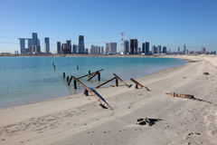 Abu Dhabi view from Saadiyat Island beach Stock Image