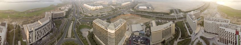 Abu Dhabi-Vogelperspektive von Yas-Inselgebäuden Stockbilder