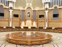 Abu Dhabi, Zjednoczone Emiraty Arabskie, Marzec, 19, 2019 Hall duch współpraca w pałac prezydenckim, pałac Qasr Al Watan fotografia royalty free