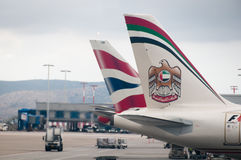 abu samolotowy lotniskowy Athens dhabi etihad Zdjęcia Royalty Free