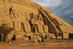 Abu Simbel,埃及。 古老埃及法老王Rameses第2 库存图片