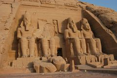 Abu Simbel. Great Temple, Egypt, Africa. It was constructed for the pharaoh Ramesses II who reigned for 67 years during the 13th century BC (19th Dynasty stock images
