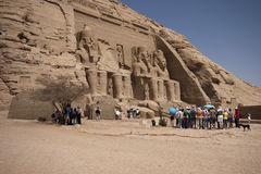 Abu Simbel. Egypt - April 20, 2008: the tourists visiting the famous  temple complex built by Ramses II in the 13th century BC Stock Photography