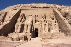 Abu Simbel, Ancient Egypt, Vacation Travel. Ancient ruins and stone carvings at Abu Simbel, Egypt. This is a popular travel destination for people on vacation or Stock Photo