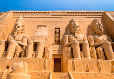 Abu simbel egypt. As ancient Egypt's Cathedral is made up of two large stone blocks. There is a statue of the pharaoh four Royalty Free Stock Photography