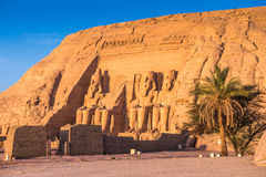Abu Simbel, Egypt. Colossus of The Great Temple of Ramesses II on sunrise, Abu Simbel, Egypt stock photos